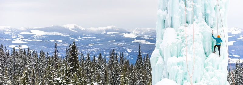 Climbing an ice tower at Big White Ski Resort in Kelowna, British Columbia, Canada
