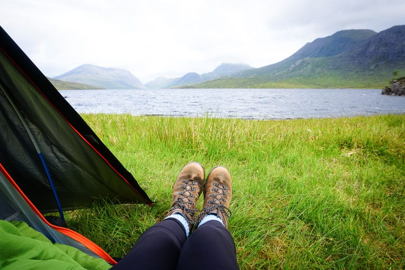 Wild camping at Lochan Fada on the Scottish National Trail