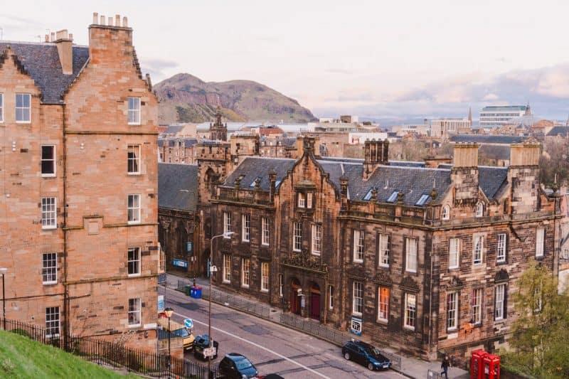 Arthur's Seat overlooks buildings in Edinburgh's Old Town