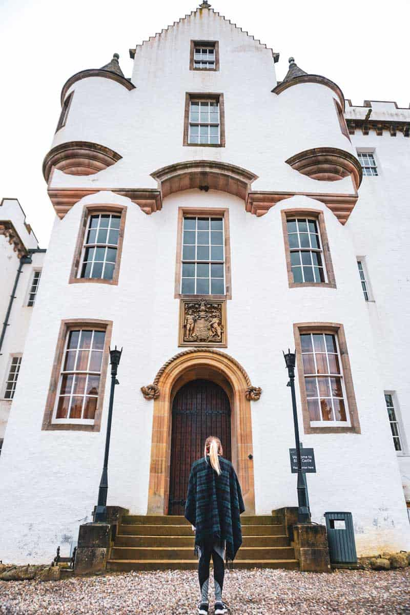 Standing in front of Blair Castle in Blair Atholl