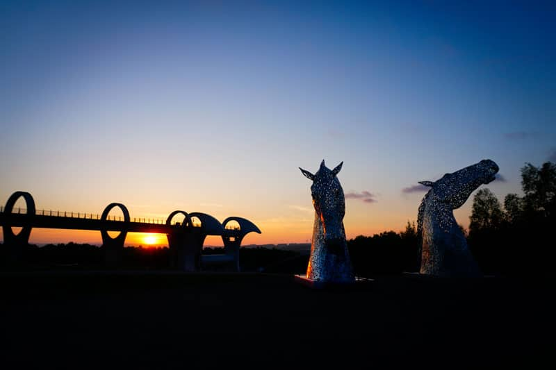 Falkirk Wheel and the Kelpies at sunset