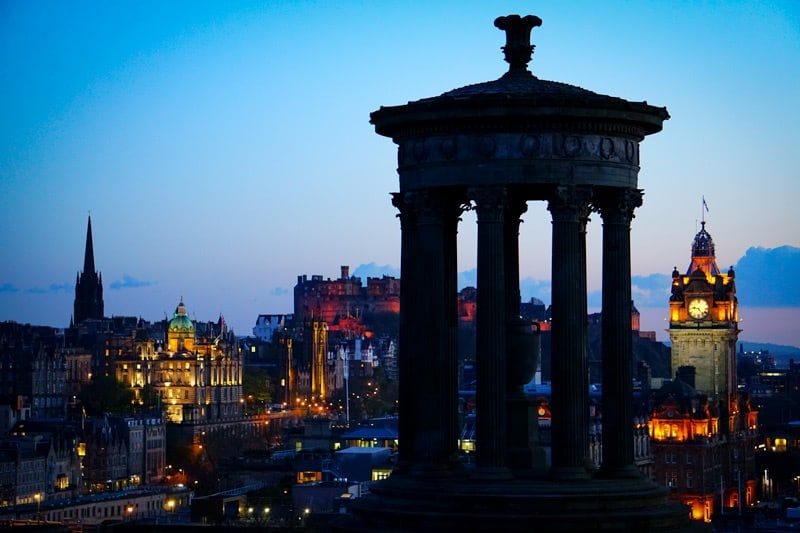 View from Calton Hill in Edinburgh at night
