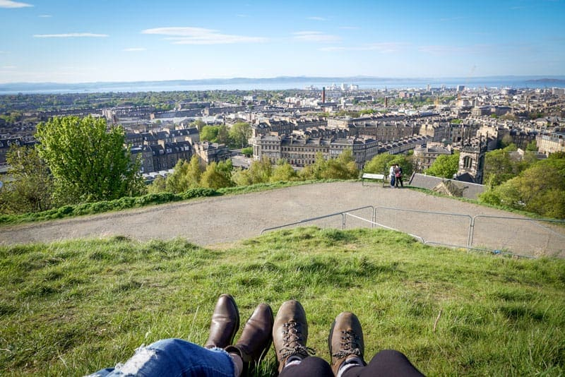 Admiring the viw of Edinburgh from Calton Hill