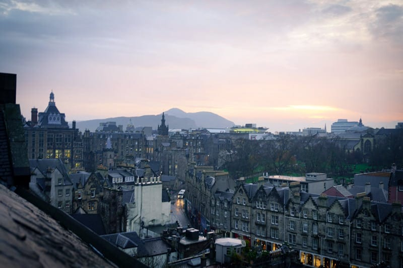 A sunrise over Edinburgh