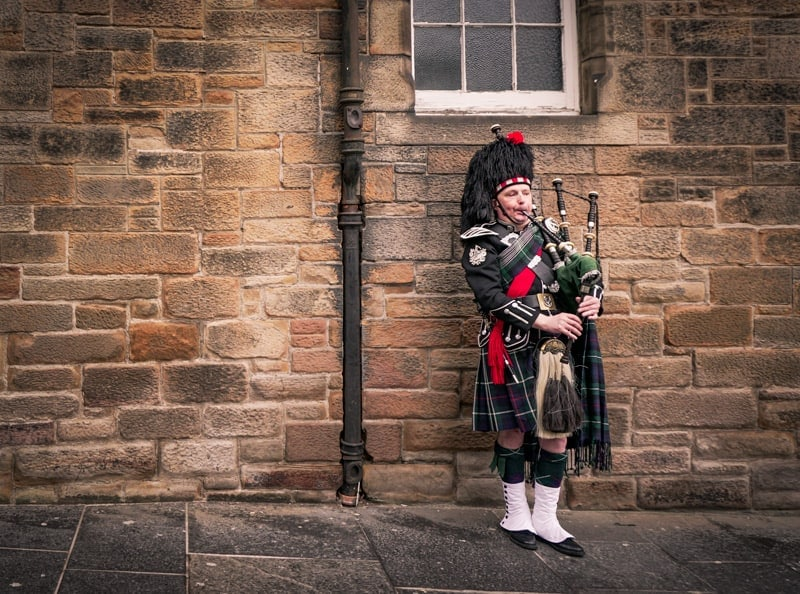Scottish bagpiper on the Royal Mile