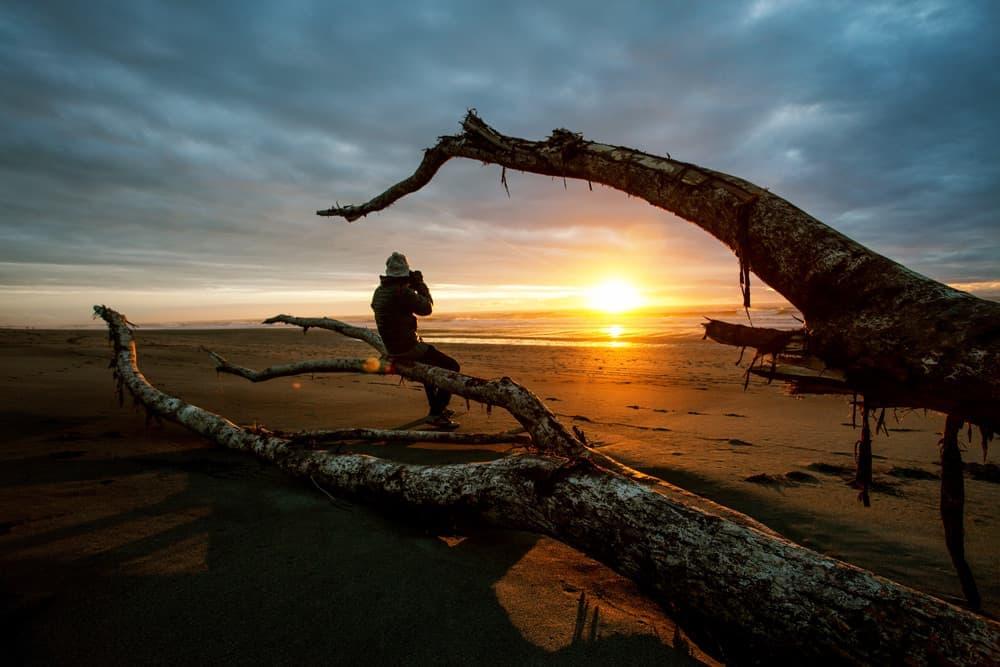 Sunset on a beach in Hokitika