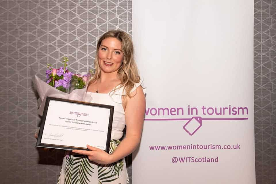 Winning the Highly Commended Influencer of the Year at the Women in Tourism Scotland Awards