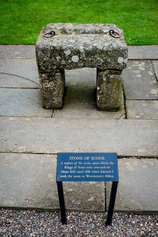 The replica of the Stone of Scone aka the Stone of Destiny in Perth, Scotland