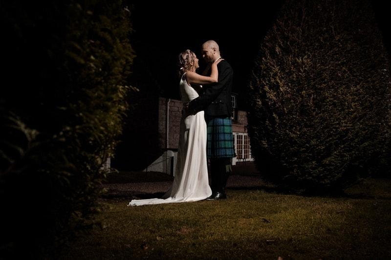 Nighttime wedding photography at Macdonald Houstoun House in West Lothian in Scotland