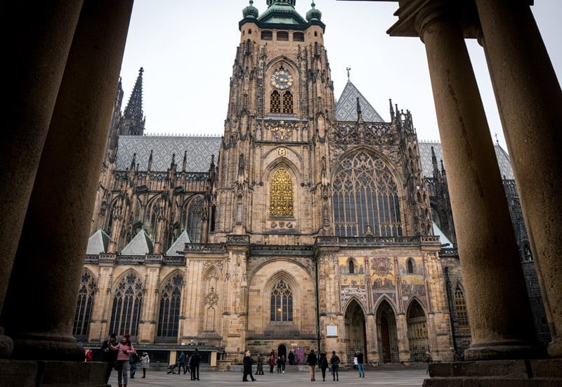 st vitus cathedral in prague in winter