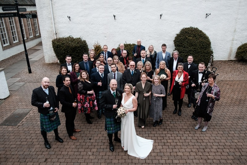 Mr and Mrs Webster wedding party at Macdonald Houstoun House Hotel in West Lothian, Scotland