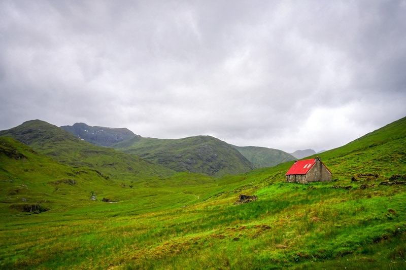 the bothy at cluanie on the cape wrath trail