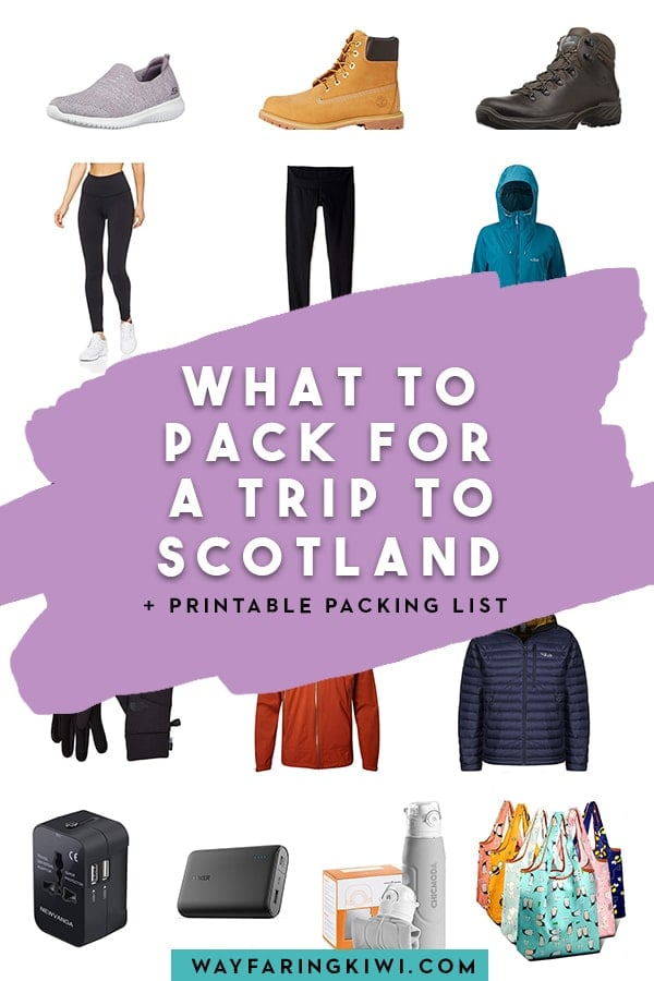 My guide on how to pack for a trip to Scotland like a local. My Scotland packing list includes what to pack for every season, plus I have a free printable packing list you can download! Don't forget to save this to your travel board so you can find it later! Scotland packing list spring | Scotland packing list summer | Scotland packing list autumn | Scotland packing list fall | Scotland packing list winter | what to pack for Scotland | what to pack for Scotland in the fall | what to pack for Scotland in spring | what to pack for Scotland in winter | what to pack for Scotland in summer #scotland #scotlandpackinglist #whattopackforscotland
