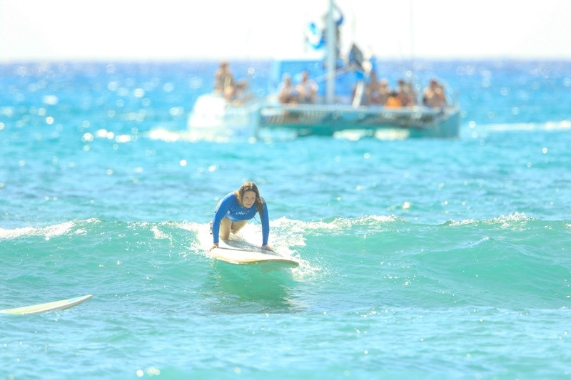 yvette learning to surf in hawaii
