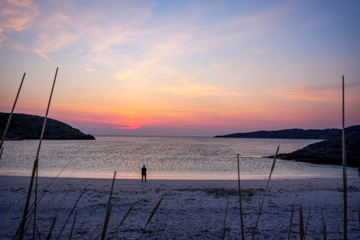 Watching the sunset on Achmelvich Beach