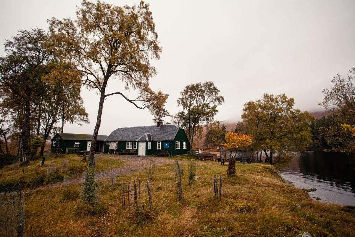 The peaceful Loch Ossian Youth Hostel, one of the best hostels in Scotland
