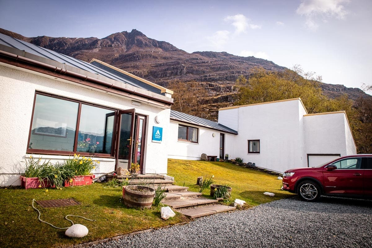 Torrridon Youth Hostel with Liathach as it's backdrop