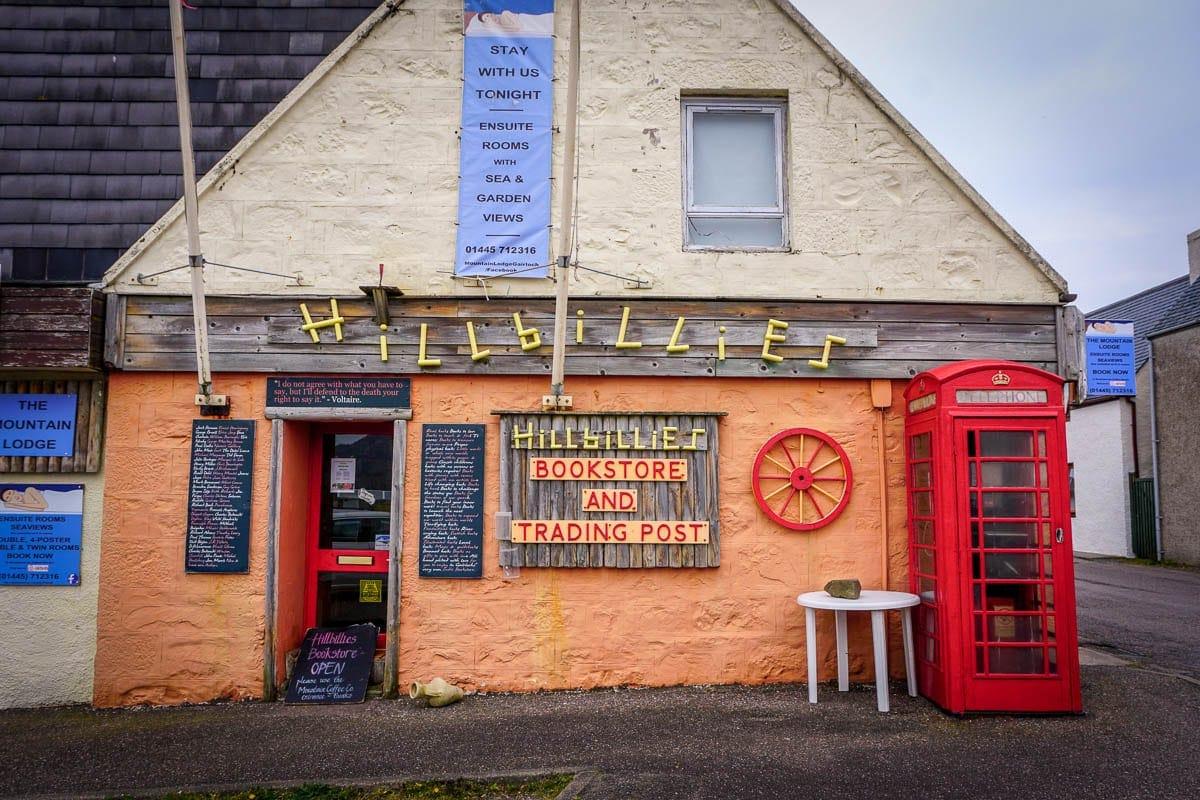 hillbillies bookstore in gairloch, scotland