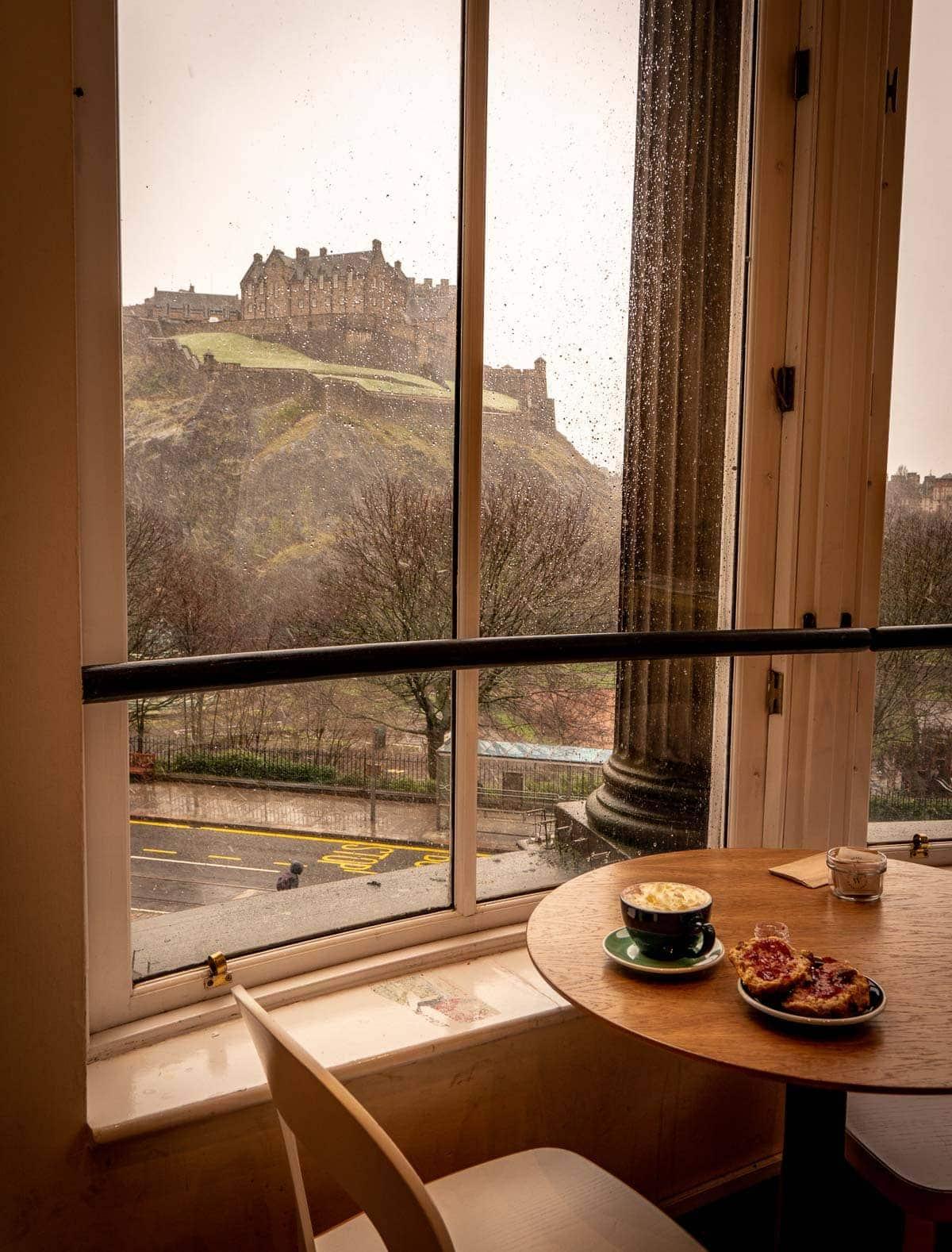 view of edinburgh castle from waterstones bookshop