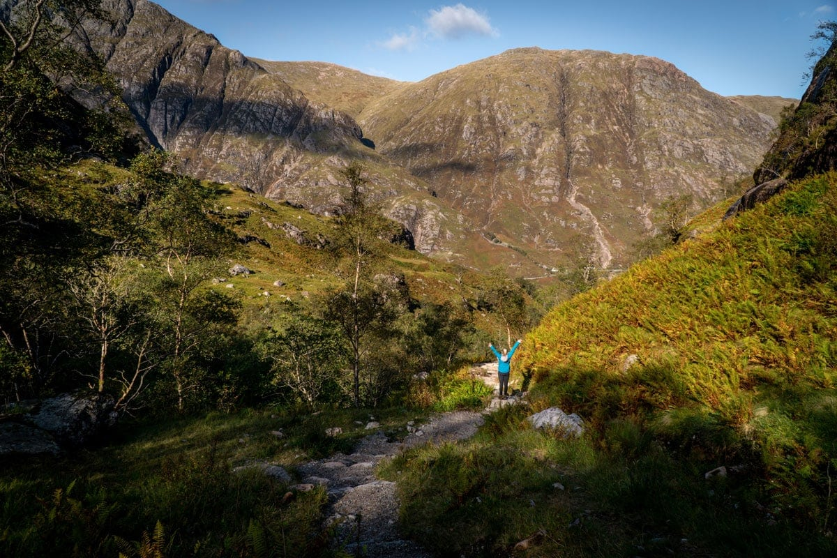 hiking to the lost valley in glencoe