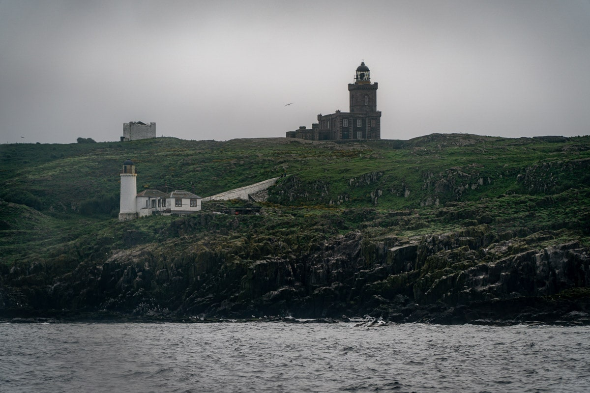 lighthouses seen through a haar on the isle of may